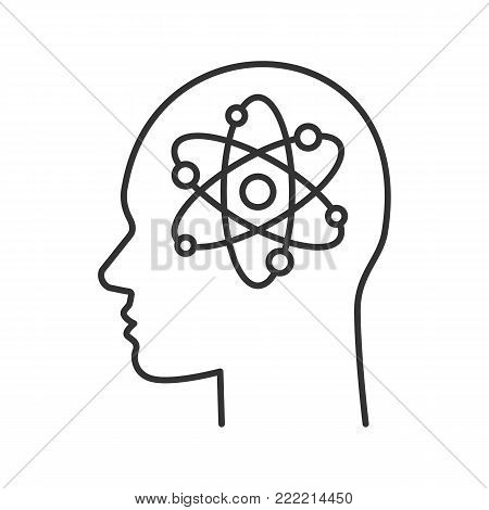 Human head with atom inside linear icon. Genius. Thin line illustration. Scientific thoughts. Contour symbol. Vector isolated outline drawing