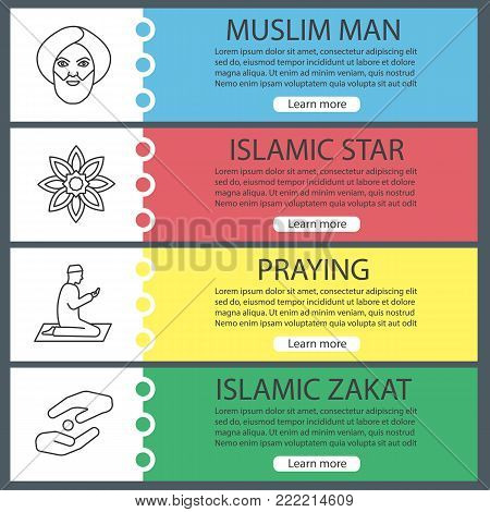 Islamic culture web banner templates set. Muslim man, islamic star, praying person, zakat. Website menu items with linear icons. Vector headers design concepts