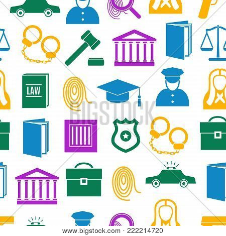Law and Justice Color Seamless Pattern Background on a White Symbol Crime or Legal for Web. Vector illustration