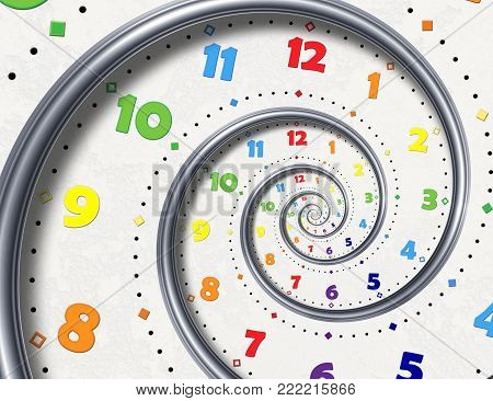 Abstract Modern white rainbow spiral clock fractal background. Twisted clocks watch unusual abstract texture fractal High resolution surreal clock spiral fractal background. Time spiral clock concept. Round clock spiral. Time management concept.