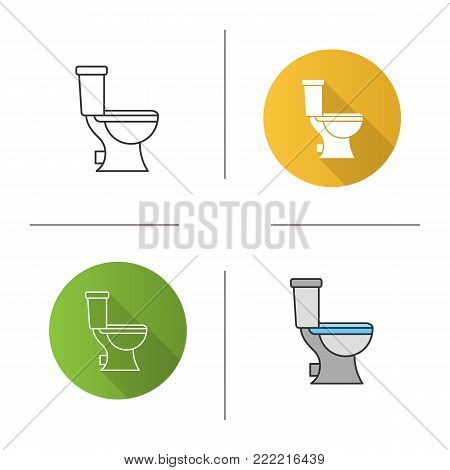 Lavatory pan icon. Flat design, linear and color styles. Toilet. Isolated vector illustrations