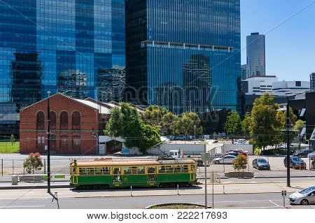 Melbourne, Australia - December 7, 2016: Historic City circle route 35 tramway on the streets of Melbourne