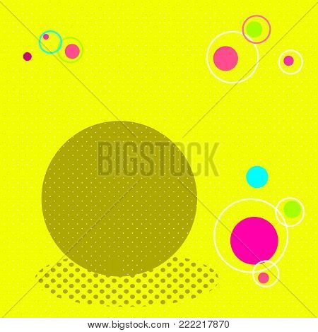 Pop art background. Yellow, white, brown, crimson, blue and orange. Vector illustration square and dots