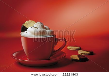 cappuchino or hot chocolate in red