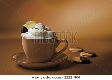 cappuchino or hot chocolate in brown