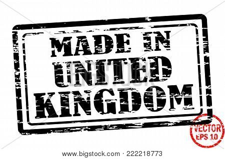 Made in United Kingdom - template of grunged black square stamp for business isolated on white background. Usable as rubber, banner, label, logo, icon or watermark for manufactured products etc.