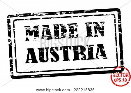 Made in Austria - template of grunged black square stamp for business isolated on white background. Usable as rubber, banner, label, logo, icon or watermark for manufactured products etc.