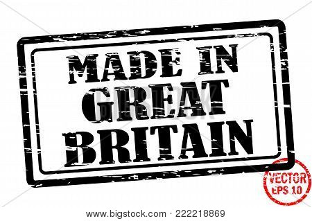 Made in Great Britain - template of grunged black square stamp for business isolated on white background. Usable as rubber, banner, label, logo, icon or watermark for manufactured products etc.