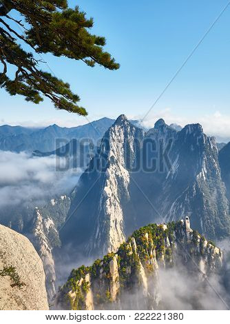 Scenic View From The Mount Hua, China.