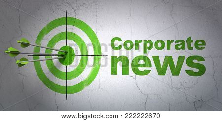Success news concept: arrows hitting the center of target, Green Corporate News on wall background, 3D rendering