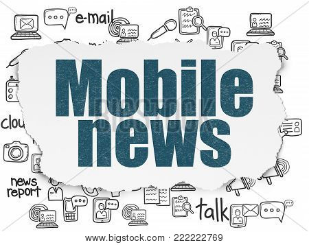 News concept: Painted blue text Mobile News on Torn Paper background with  Hand Drawn News Icons