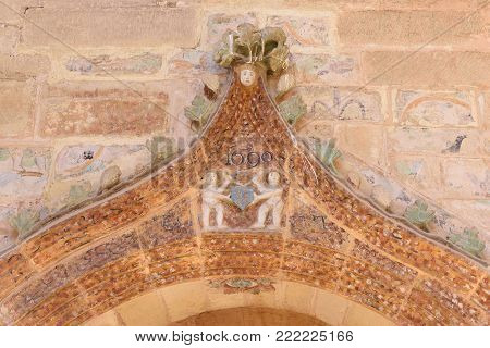 sculpture in the cloister of the monastery of Vallbona de les Monges, Lleida province, Catalonia, Spain