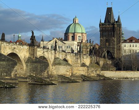 PRAGUE, CZECH REPUBLIC - DECEMBER 10, 2016: The Charles bridge and The Old Town Tower