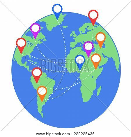isolated earth map with geo location pins travel elements from white background