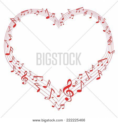 isolated Music of love, music notes in heart shape from white background