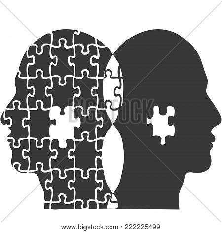 isolated couple jigsaw puzzle people head from white background