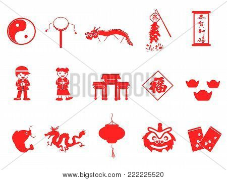 isolated red chinese new year icons set on white background