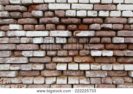 Detail of the old brick wall - brick pattern