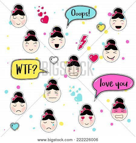 Set of cute patch badges. Girl emoji with different emotions and hairstyles. Kawaii emoticons, speech bubbles ooops, wtf, love you. Set of stickers, pins in anime style. Isolated vector illustration