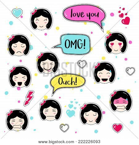 Set of cute patch badges. Girl emoji with different emotions and hairstyles. Kawaii emoticons, speech bubbles love you, omg, ouch. Set of stickers, pins in anime style. Isolated vector illustration.