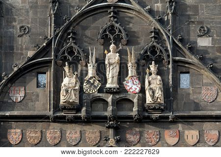 The Gothic statues of saints and kings at the Bridge Tower of Charles Bridge, Prague