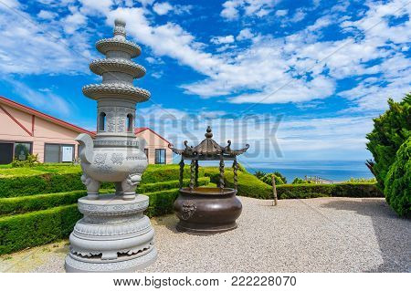 South Australia, Australia - November 12, 2017: Nan Hai Pu Tuo temple yard with picturesque view on sunny day