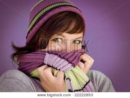 girl with winter-clothes in violet