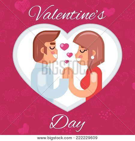 Romantic beloved dating man woman Symbol Icon Valentines Day Flat Concept Design Vector Illustration