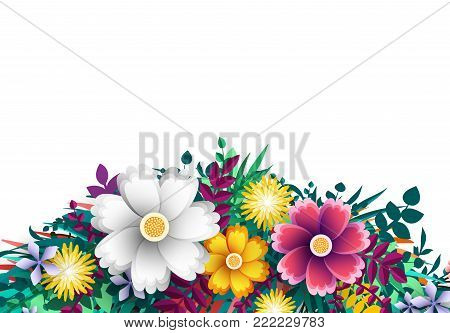 Vector Flower. Floral colorful branches with buds on white background. Template blooming flowers for wedding invitations and greeting card design.