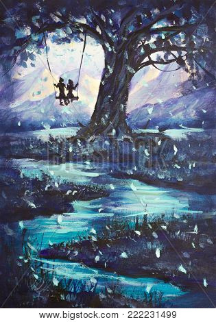 Closeup Hand painted Oil painting fairy tale, abstraction male and girl ride on swing. mountains in background. illustration to book