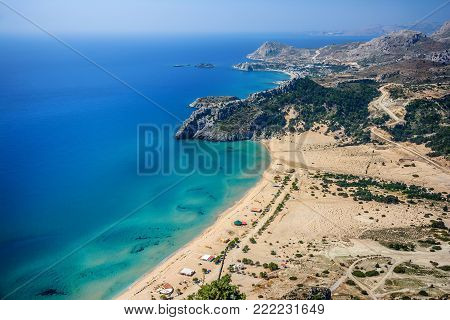 Amazing view  to the beach and rocks. Rhodes, Greece, Dodecanes