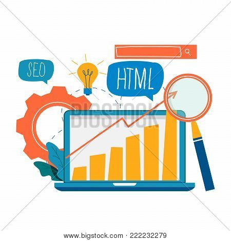 SEO, search engine optimization, keyword research, web site analytics service flat vector illustration. SEO concept. Web site coding, internet search optimization design for mobile and web graphics
