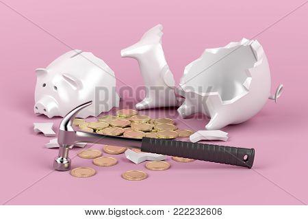 Broken piggy bank with hammer on pink background, 3D illustration