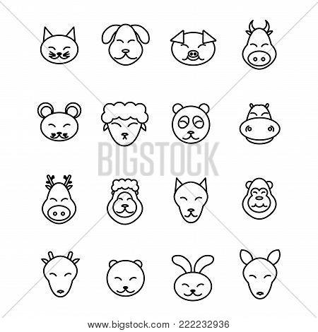 Different animals vector. Icons set pet. Pig, dog, cat, cow, mouse, sheep, panda hippopotamus deer lion wolf monkey bear rabbit kangaroo