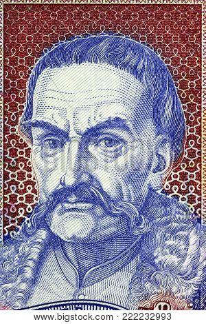 Ivan Mazepa portrait from old Ukrainian money
