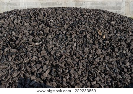 Heap of coal mineral. Mining concept.Fossil fuel.