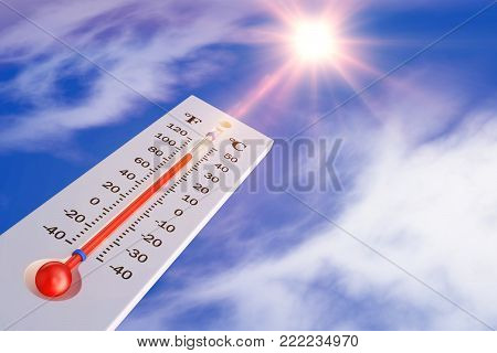 The thermometer on the background of the sun. 3d rendering.
