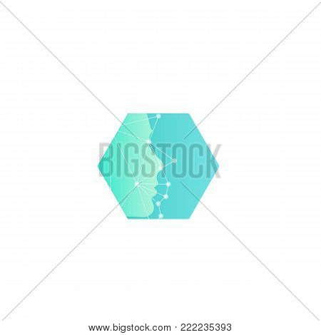 Research of human mimics, new technologies of the future abstract vector logo template. Face Scan with Grid. Turquoise hexagon shape