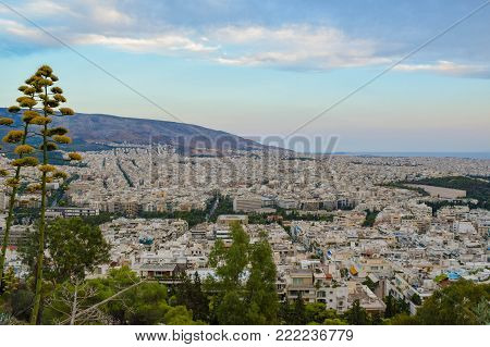 Evening cityscape of Athens at sunset, Greece.