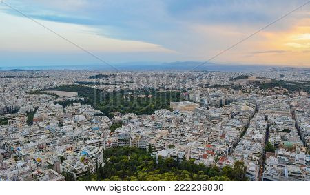 Evening cityscape of Athens at sunset, Greece