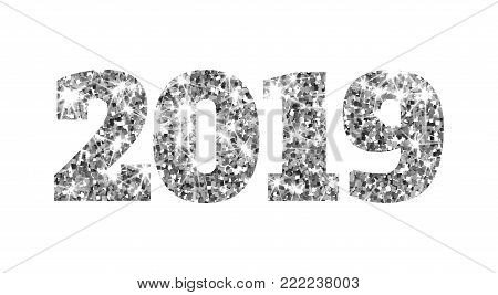 Happy new 2019 year. Silver glitter particles. Shine gloss brilliance sparkles sign. Holidays vector design element for calendar, party invitation, card, poster, banner, web.