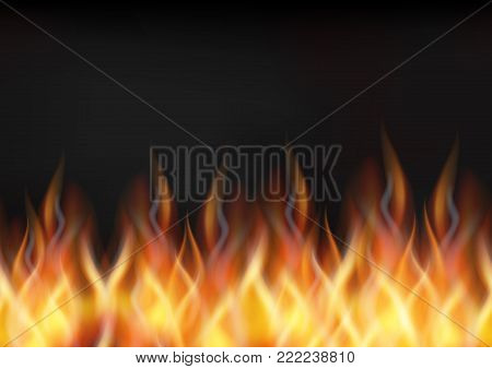 Fire Seamless Pattern, Horizontal Background, Solid Wall of Blazing Red, Orange and Yellow Flames and Dark Black Smoke Above It. Eps10, Contains Transparencies. Vector