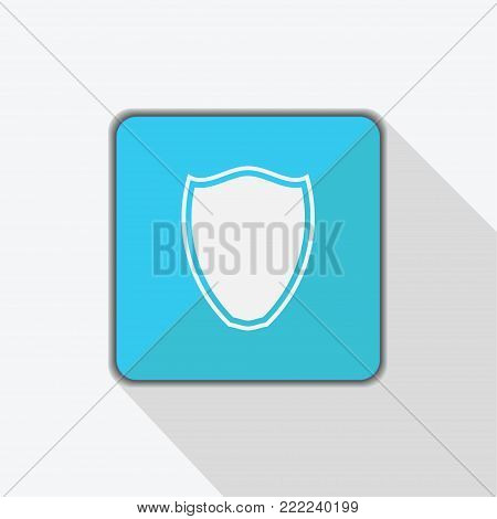 Shield icon on blue background with shadow. Vector illustration.