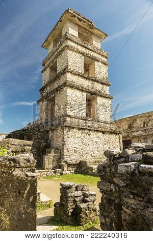 PALENQUE, MEXICO - NOVEMBER 29: The Palace, one of the Mayan buiding ruins on November 29, 2016 in Palenque. Palenque was declared a world heritage site by UNESCO in 1987.