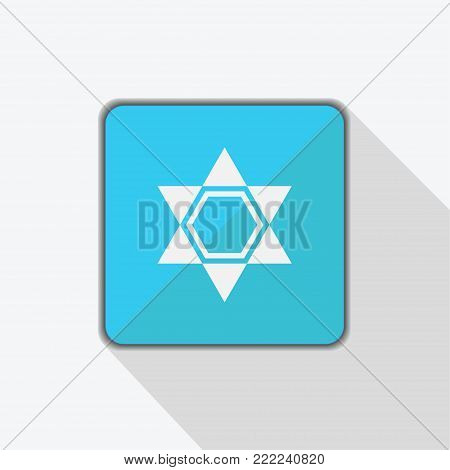 Star of David icon isolated on blue background. Star of David symbol of Israel. Vector stock.