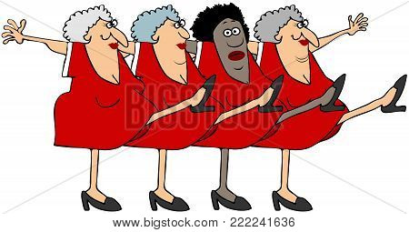 Illustration of four old women kicking their legs up dancing the can-can.