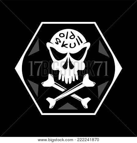 Crossbones old skull vector symbol, hexagonal concept frame isolated on black