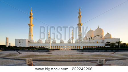 ABU DHABI, UNITED ARAB EMIRATES - DEC 31, 2017: Exterior of the Sheikh Zayed Mosque in Abu Dhabi. It is the largest mosque in the country.