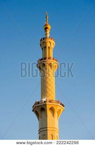 Minaret of the Sheikh Zayed Mosque in Abu Dhabi. It is the largest mosque in the country.
