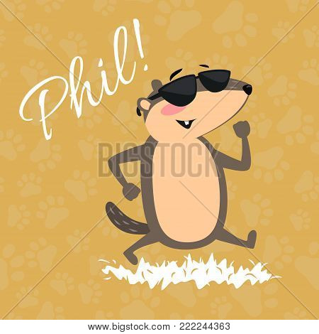Happy Groundhog Day design with cute marmot in sunglasses walking park under the sun, prediction of weather, animal climbed out of ground burrows after wintering, hog gipernation vector .